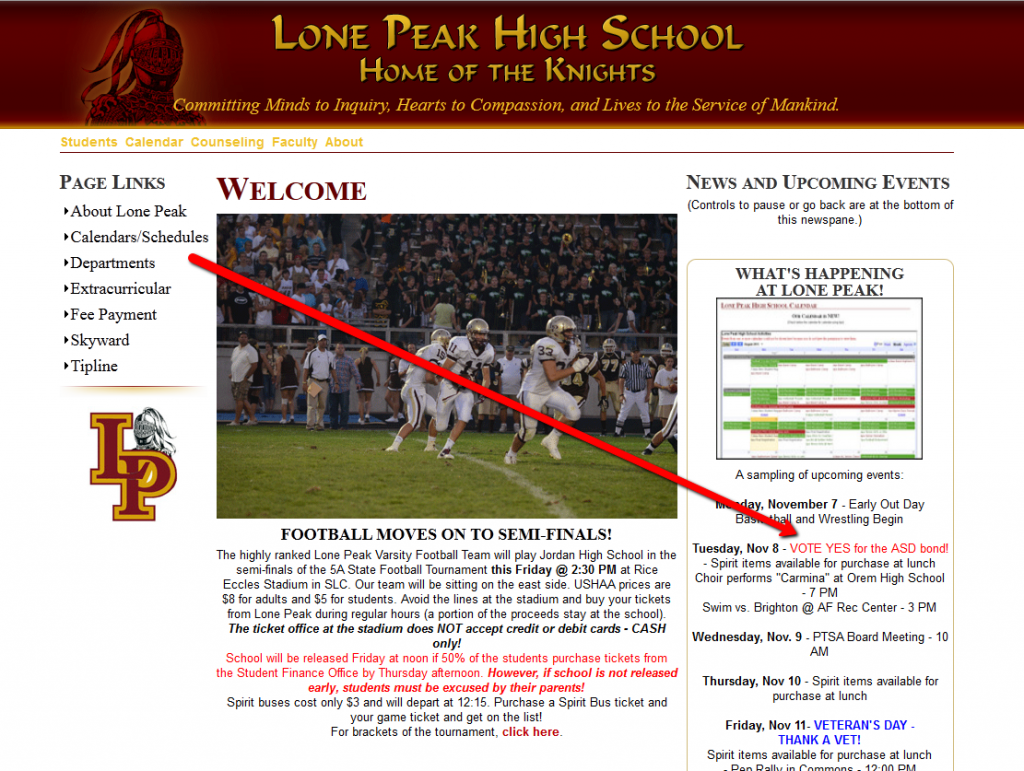 Lone Peak High School, ASD Election Violation