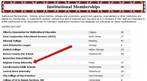 NAME's Institutional Memberships