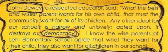Lehi Elementary School Newsletter - John Dewey Quote
